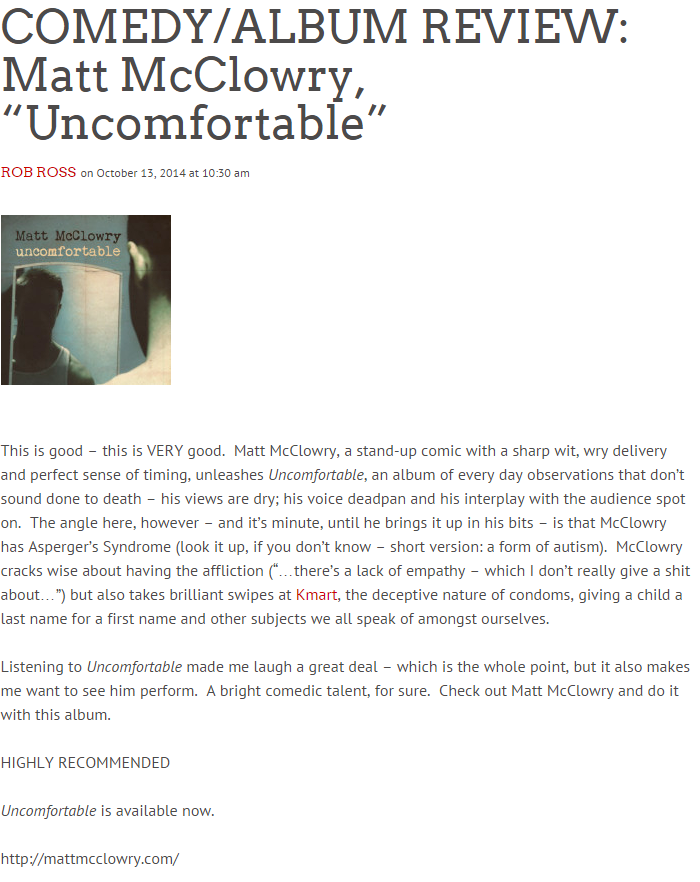 COMEDY ALBUM REVIEW  Matt McClowry,  Uncomfortable    Popdose